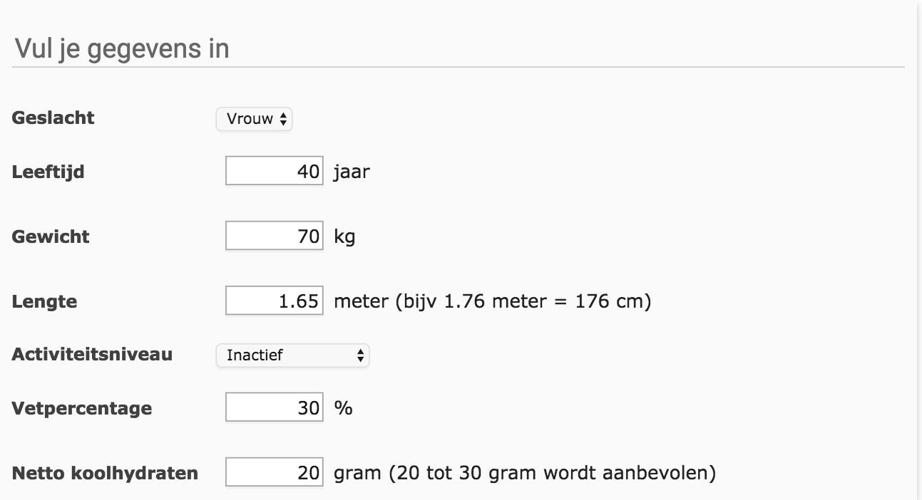 20 gram koolhydraten per dag