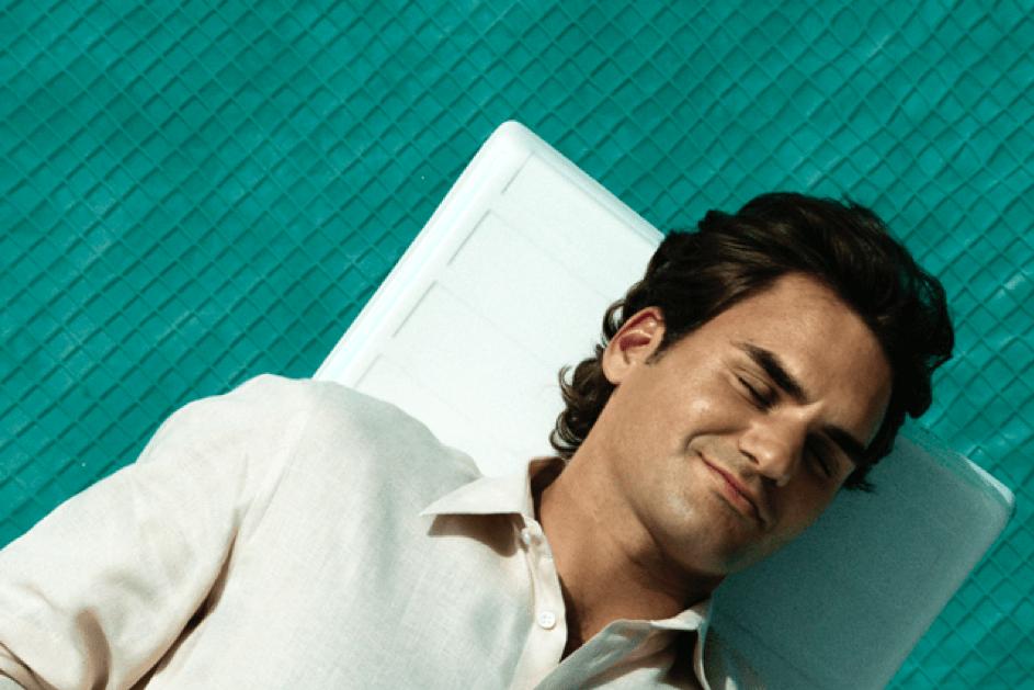 Roger Federer slapend